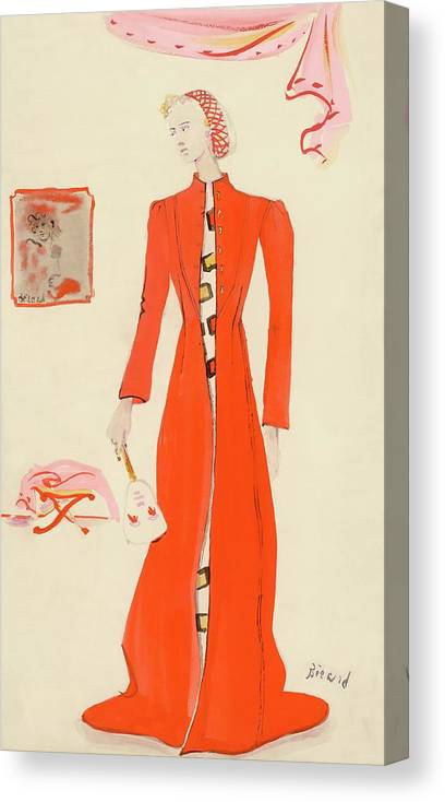 Fashion Canvas Print featuring the digital art A Model Wearing A Schiaparelli Military Red Coat by Christian Berard