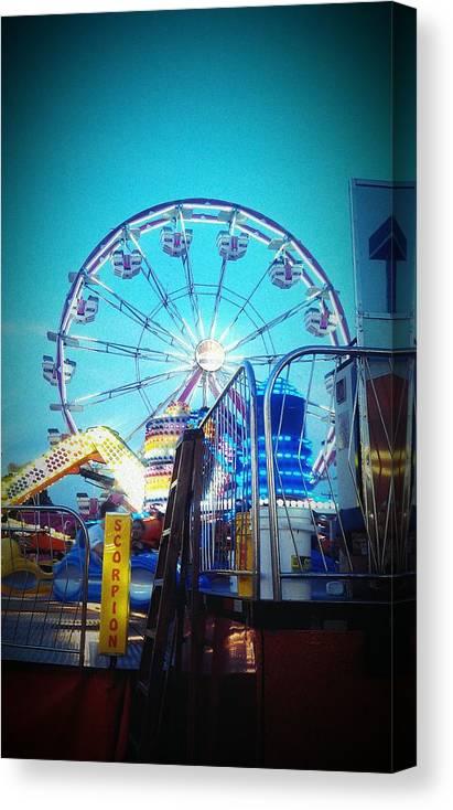 Ferris Wheel Canvas Print featuring the painting Ferris Wheel by Deyanira Harris