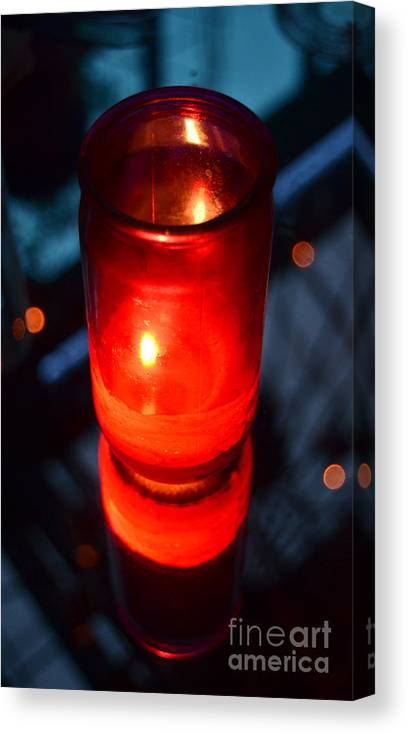 Red Canvas Print featuring the photograph Red Nightclub Candle And Flame Reflected In A Mirrored Cocktail Tabletop by Shawn O'Brien
