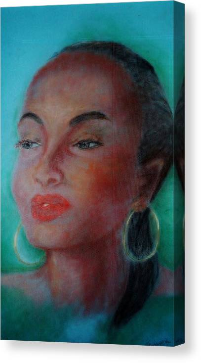 Vocalist Canvas Print featuring the painting The Singer Sade by Marjudy Royo