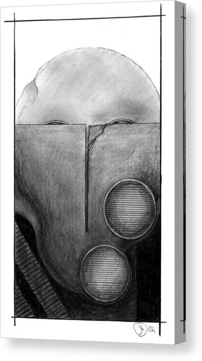 Mask Canvas Print featuring the drawing War Mask_009 by Jesse Holt