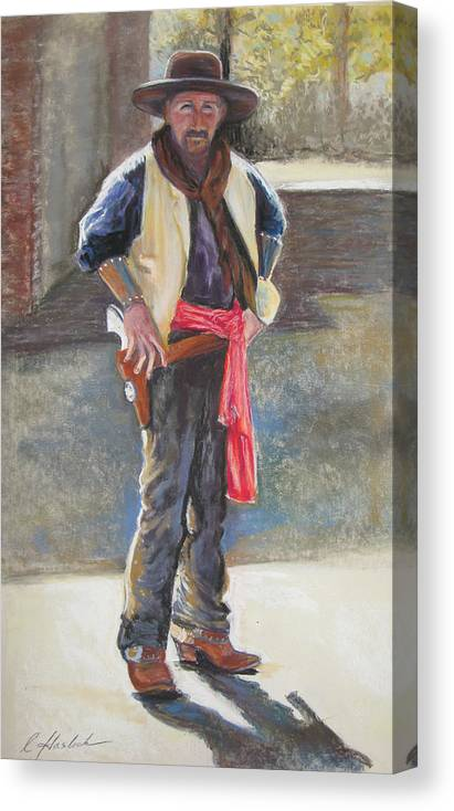 Western Art Canvas Print featuring the pastel Tombstone Cowboy by Carole Haslock