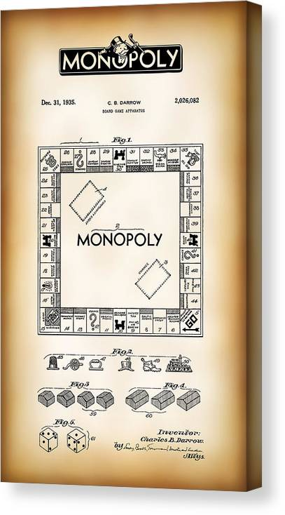 Monopoly Canvas Print featuring the digital art Monopoly Board Game Patent Art 1935 by Daniel Hagerman