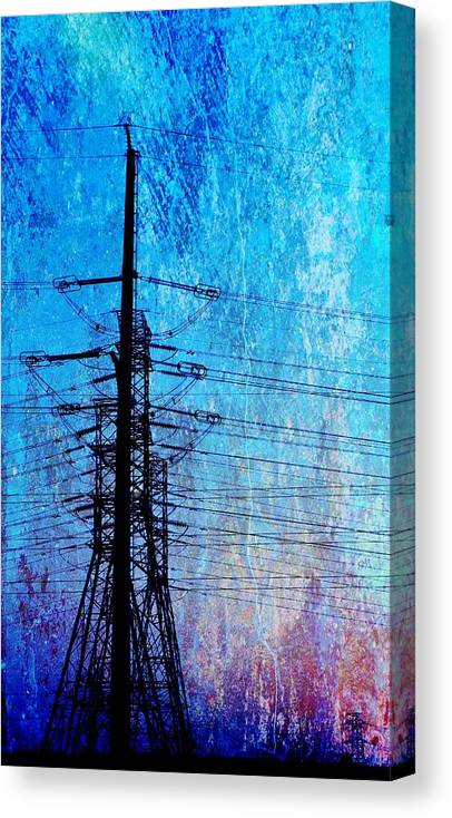 Landscape; Power Lines; Sunrise; Texture; Blue; Red; Swartland; South Africa; Morning Light; Nature; Technic; Wire; Sky; Canvas Print featuring the photograph Power In Blue by Werner Lehmann
