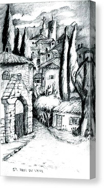 French Village Canvas Print featuring the drawing French Village by Dan Earle