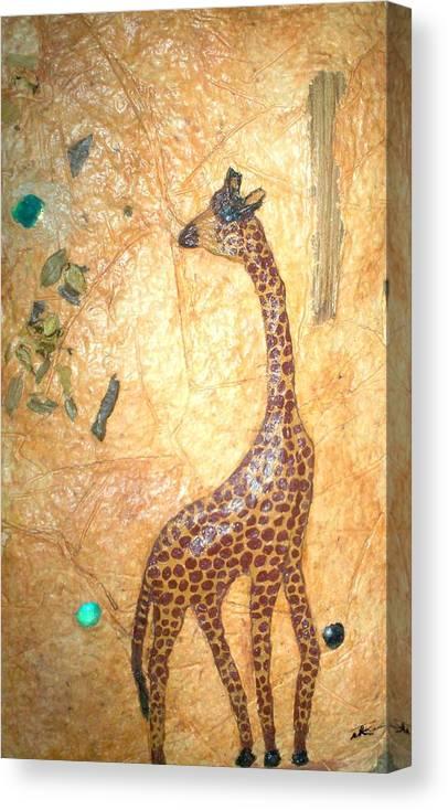 Giraffe Canvas Print featuring the mixed media Giraffe  Sold by Tinsu Kasai