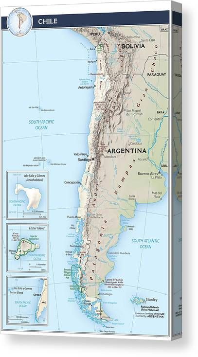 Atlas Canvas Print featuring the mixed media Map Of Chile 2 by Roy Pedersen