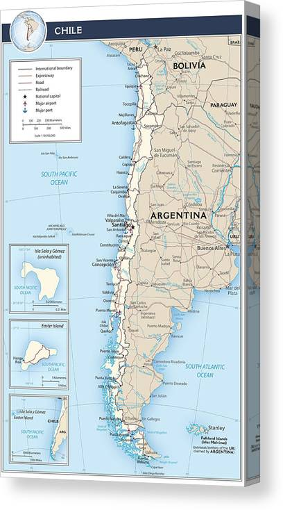 Atlas Canvas Print featuring the mixed media Map Of Chile by Roy Pedersen