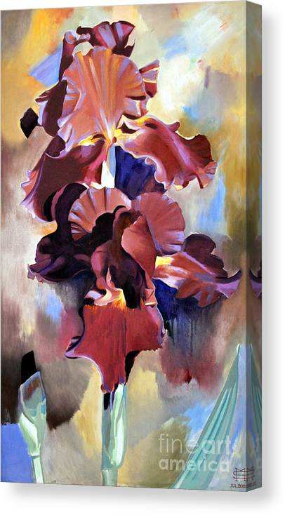 Flowers Canvas Print featuring the painting Red Irises by Michael Stoyanov