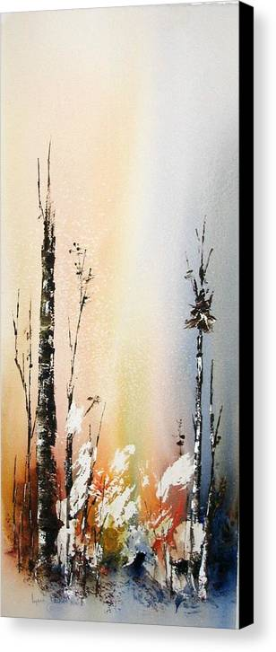 Snowey Scene Canvas Print featuring the painting Cool Spring by Lynne Parker