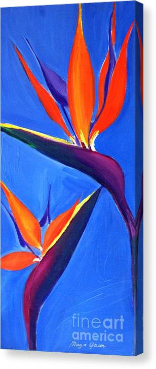 Artwork Canvas Print featuring the painting Bird Of Paradise Flower by Maya Green