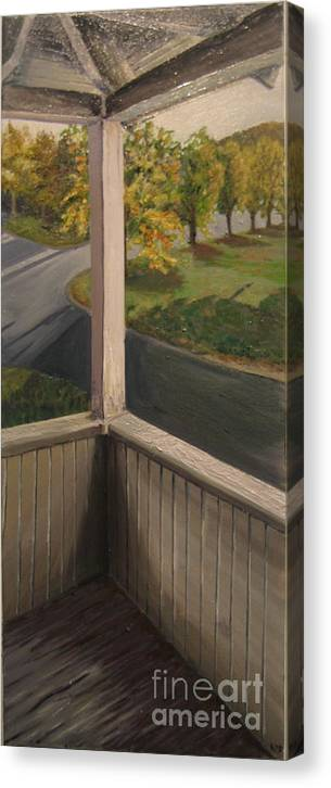 Porch Canvas Print featuring the painting Shannon Street Porch by Kayla Race