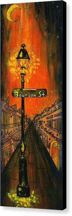 Bourbon Street Canvas Print featuring the painting Bourbon Street Lamp Post by Catherine Wilson