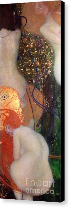Fish Canvas Print featuring the painting Goldfish by Gustav Klimt
