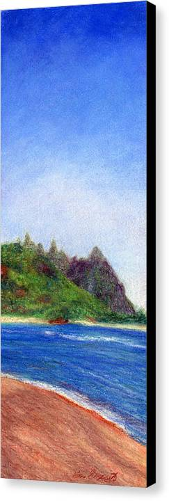 Rainbow Colors Pastel Canvas Print featuring the painting Tunnels Beach View by Kenneth Grzesik