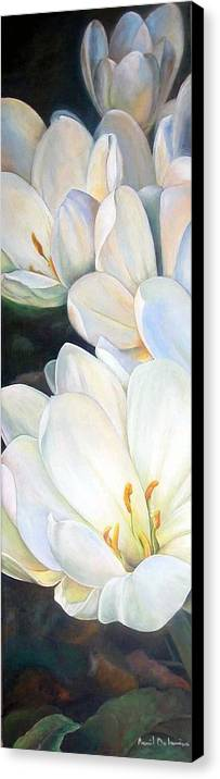 Floral Painting Canvas Print featuring the painting Crocus by Muriel Dolemieux