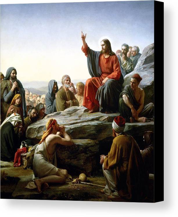 Sermon On The Mount Canvas Print Featuring Painting By Carl Bloch