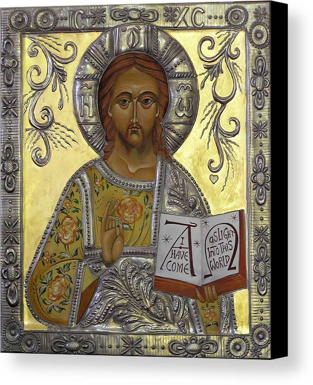 Byzantine Art Canvas Print featuring the painting Christ Pantocrator by Mary jane Miller