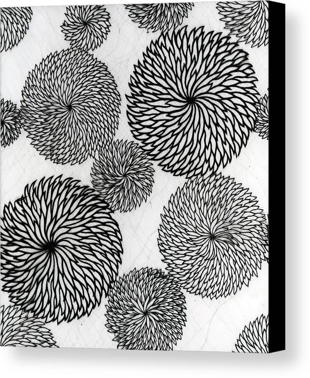 Chrysanthemum Canvas Print featuring the tapestry - textile Chrysanthemums by Japanese School