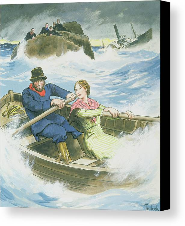 William Canvas Print featuring the drawing Grace Darling And Her Father Rescuing by Trelleek