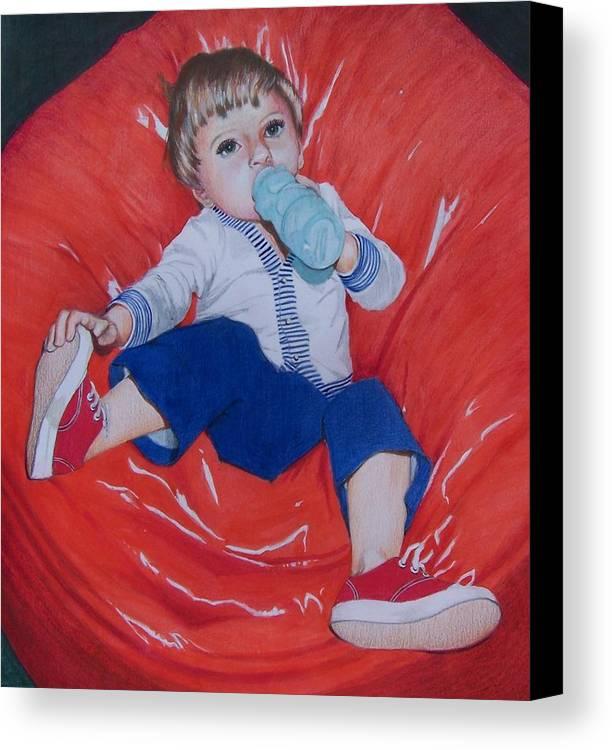 Boy Canvas Print featuring the mixed media Joey by Constance Drescher