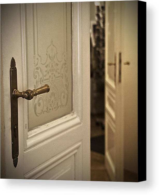 Sigmund Freud's Apartment Canvas Print featuring the photograph Open Door by Alida Thorpe