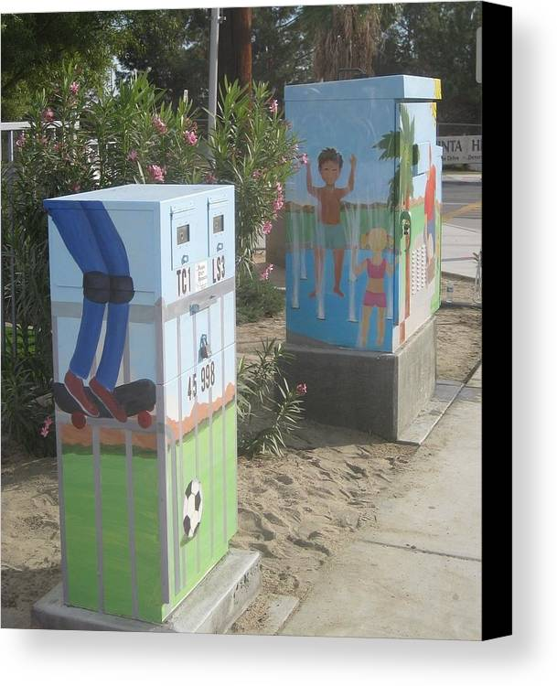 Public Art Canvas Print featuring the painting Student Designed Small Utility Box by Maria Hunt