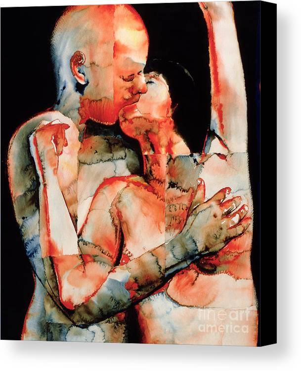 Kissing; Love; Lovers; Lover; Romance; Intimacy; Intimate; Couple; French; Erotic; Snog; Passionate; Atmospheric; Psychedelic; Passion; Lust Canvas Print featuring the painting The Kiss by Graham Dean