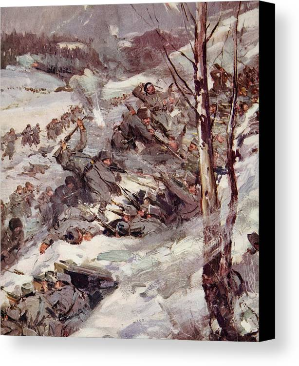 World Canvas Print featuring the painting The Russians Fighting Their Way Over The Carpathians by Cyrus Cuneo