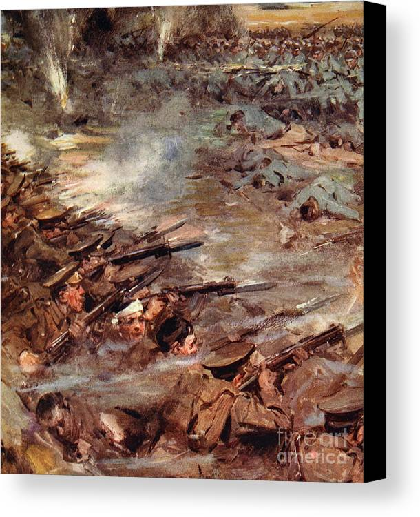 World War I Canvas Print featuring the painting Their Men Advanced In Dense Masses by Cyrus Cuneo