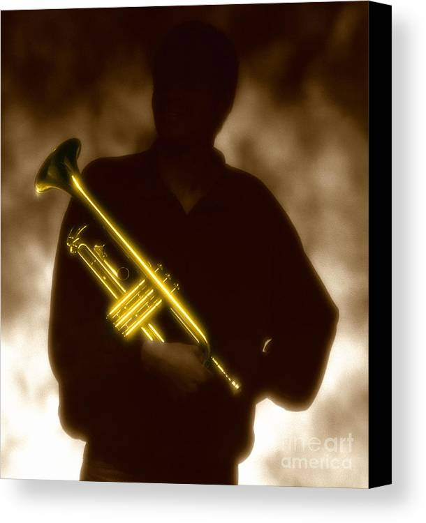 Jazz Canvas Print featuring the photograph Man Holding Trumpet 1 by Tony Cordoza