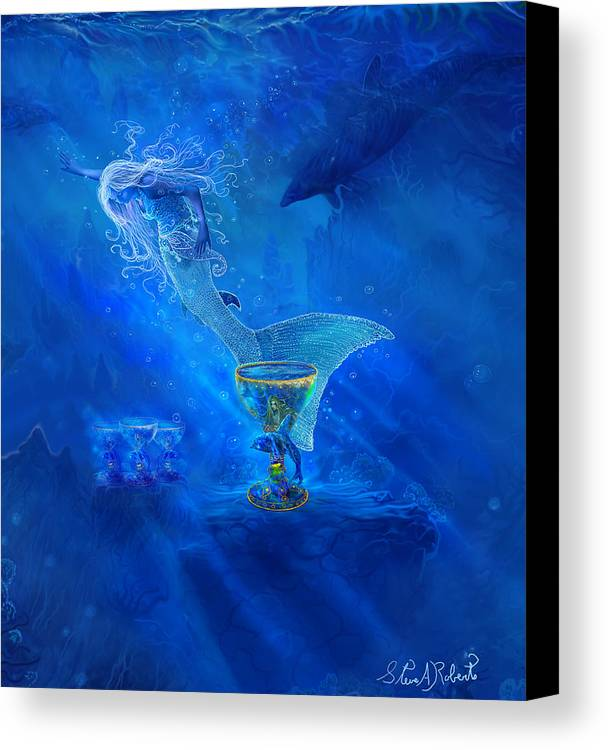 Mermaid Art Canvas Print featuring the painting Treasured Cups From Atlantis. by Steve Roberts