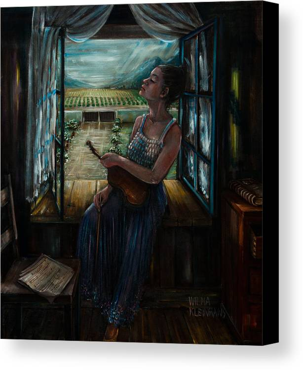 Girl With Violin In Window. Canvas Print featuring the painting Violin And Winelands by Wilma Kleinhans