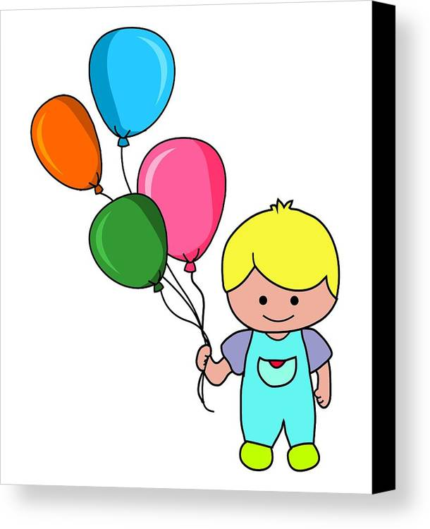 Kid Canvas Print featuring the digital art Boy With Balloons by Mokile