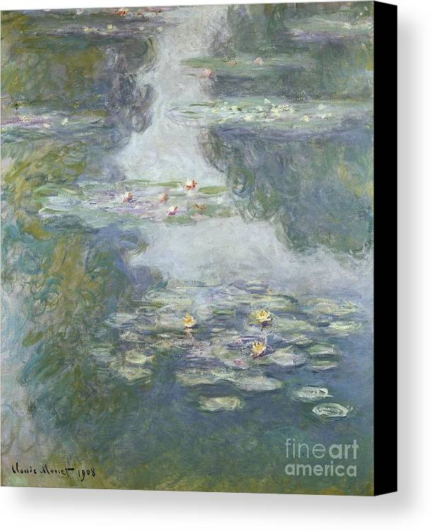 Pads Canvas Print featuring the painting Waterlilies by Claude Monet