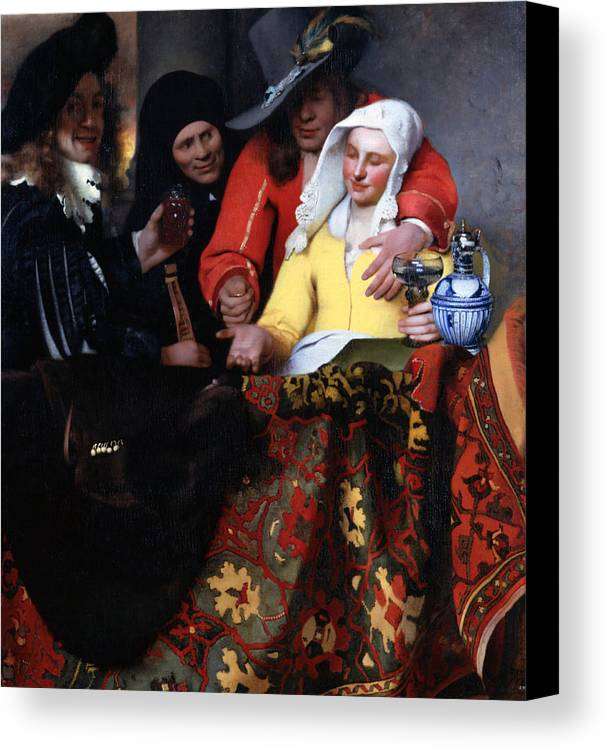 Baroque Canvas Print featuring the painting The Procuress by Johannes Vermeer