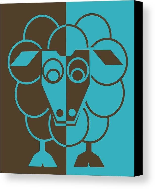 Heep Canvas Print featuring the painting Sleep-sheep - Lonvig By Minymo by Asbjorn Lonvig