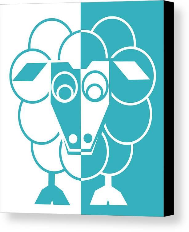 Sheep Canvas Print featuring the painting Sleep-sheep - Lonvig By Minymo by Asbjorn Lonvig