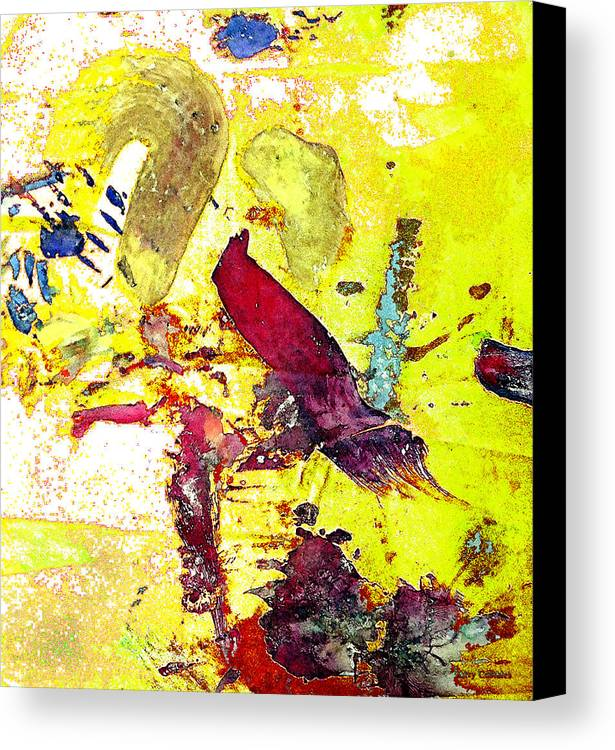 Bird Canvas Print featuring the photograph Abstract Bird On Yellow by Lawrence Costales