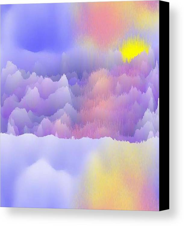 Sky.polar Lights.entire Day Is The Sun.river.ice.snow. The Ice-hummocks.  Canvas Print featuring the digital art Alaska.yukon.cold. by Dr Loifer Vladimir