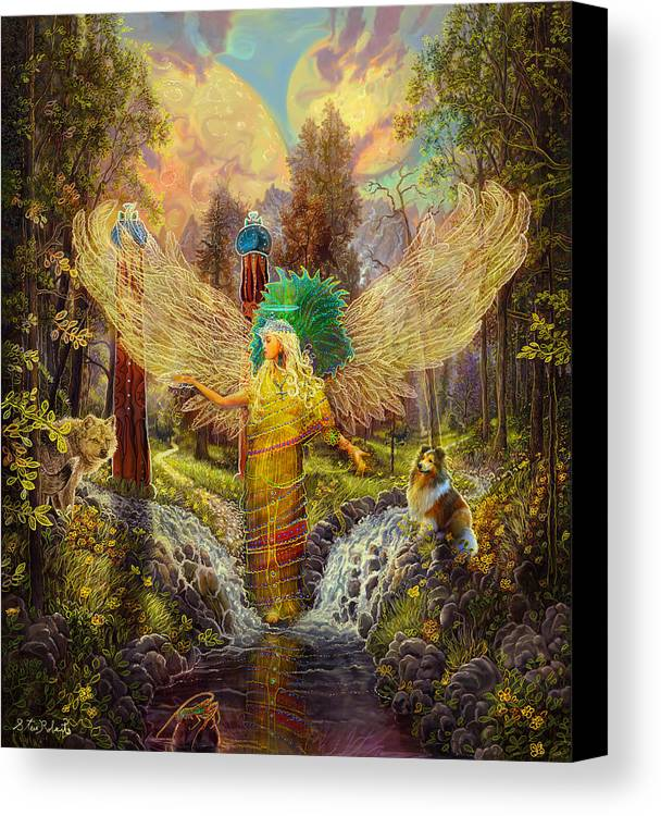 Angel Canvas Print featuring the painting Archangel Haniel by Steve Roberts