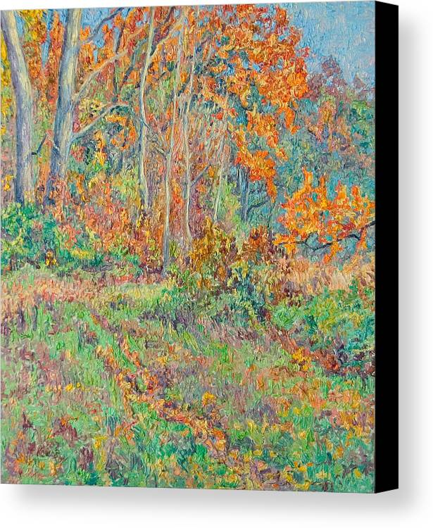 Autumn Canvas Print featuring the painting Autumn Forest Path by Vitali Komarov