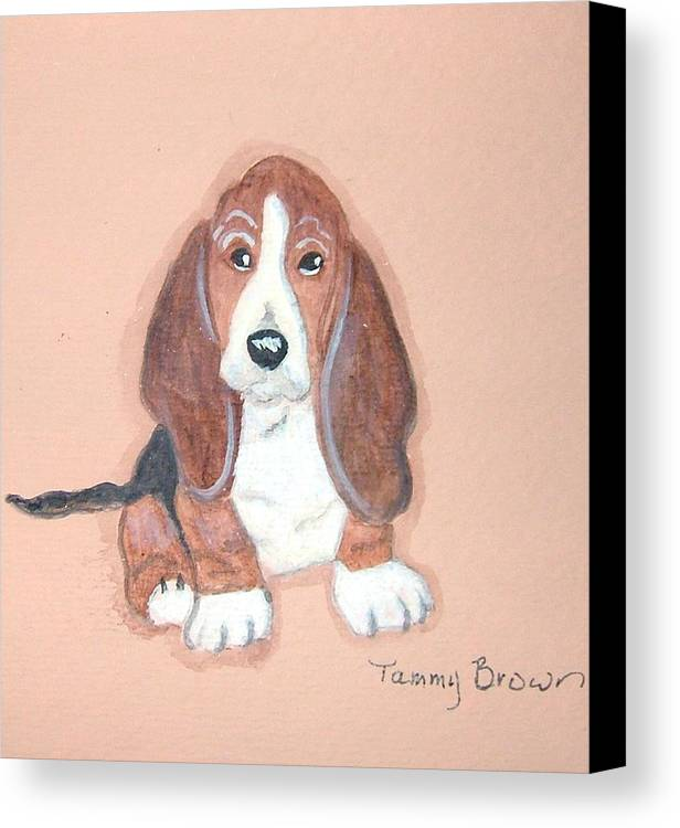 Basset Canvas Print featuring the painting Baby Face by Tammy Brown