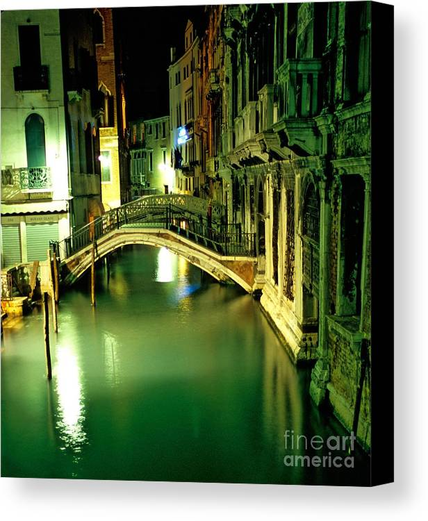 Venice Canvas Print featuring the photograph Canal And Bridge In Venice At Night by Michael Henderson