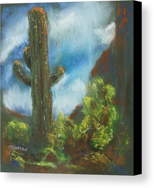 Cactus Canvas Print featuring the painting Desert Sentinel by Marilyn Barton