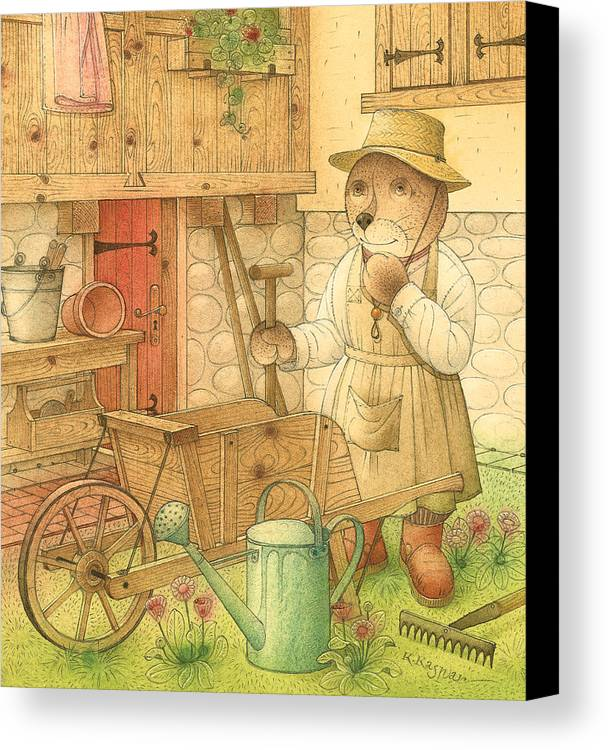 Bear Garden Flowers Canvas Print featuring the painting Florentius The Gardener02 by Kestutis Kasparavicius