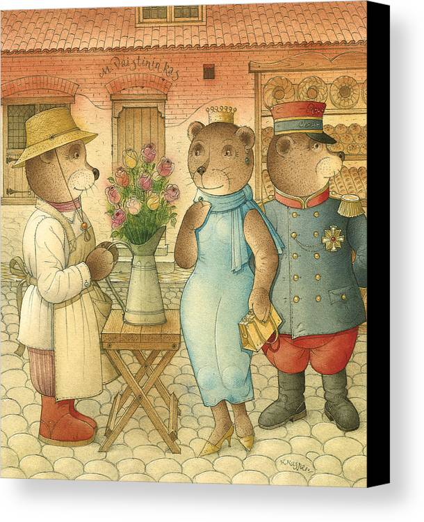 Bears Love Queen Flowers Roses Flirt Canvas Print featuring the painting Florentius The Gardener09 by Kestutis Kasparavicius