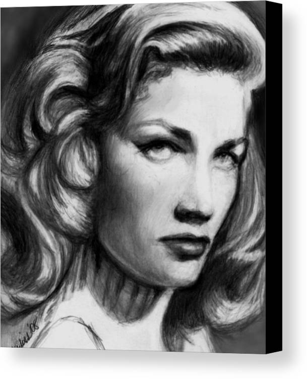 Actress Woman Canvas Print featuring the drawing Lauren by Carliss Mora
