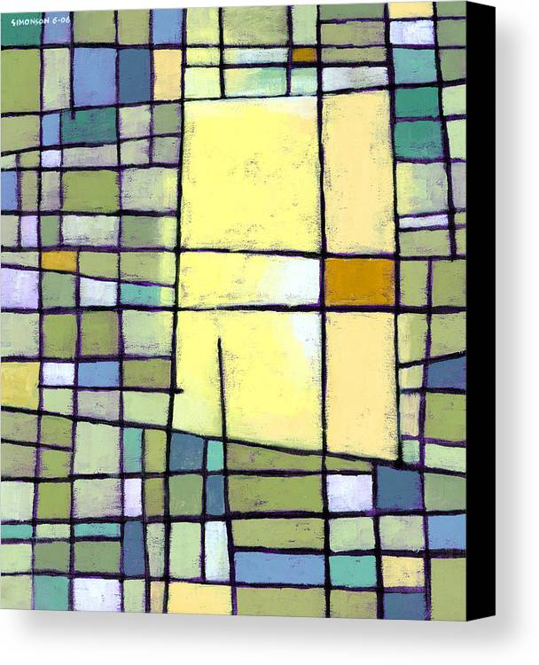 Abstract Canvas Print featuring the painting Lemon Squeeze by Douglas Simonson
