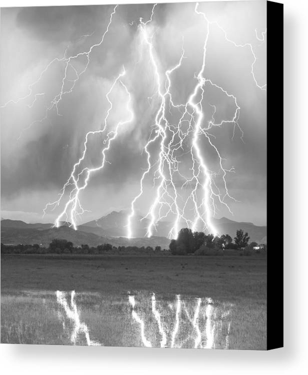 Foothills Canvas Print featuring the photograph Lightning Striking Longs Peak Foothills 4cbw by James BO Insogna